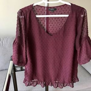 maroon sheer blouse